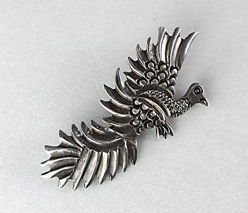 Vintage Mexico Sterling silver Bird of Paradise Brooch