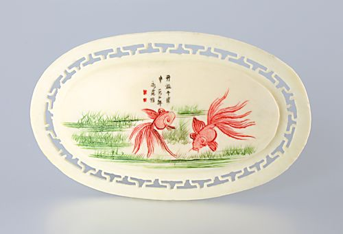 Chinese export Coi Fish Scrimshaw Bone Brooch