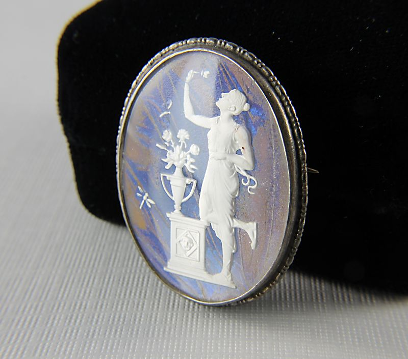 Art Deco Butterfly wing Sterling silver Brooch Pendant Aphrodite
