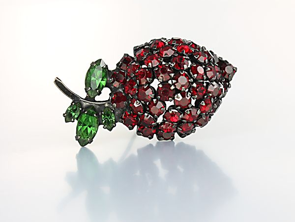 Warner Strawberry Brooch Red rhinestone vintage fruit jewelry
