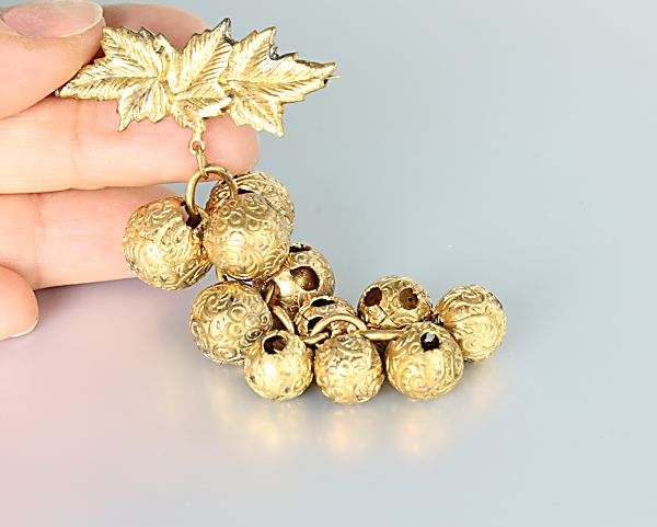 Art Deco Brass ball Brooch Grapes fruit jewelry
