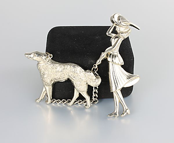 Coro Lady and Dog Brooch Chatelaine silver tone