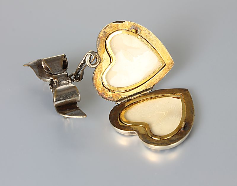 Art Deco Heart Locket chatelaine Brooch gold filled