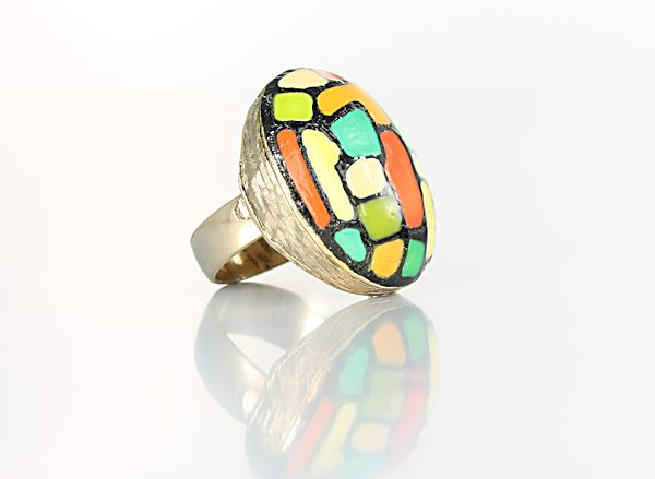 Eisenberg Enamel Ring modernist jewelry 1970s