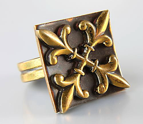 Vintage Copper Fleur de Lis Ring mixed metals