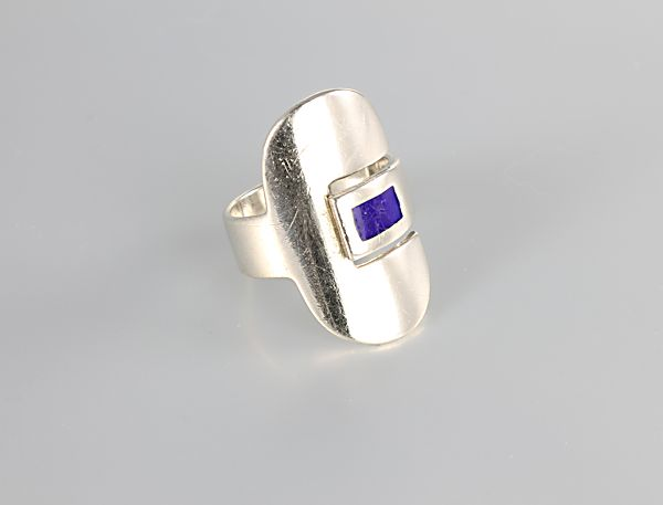Forlivesi sterling silver Modernist Ring blue enamel
