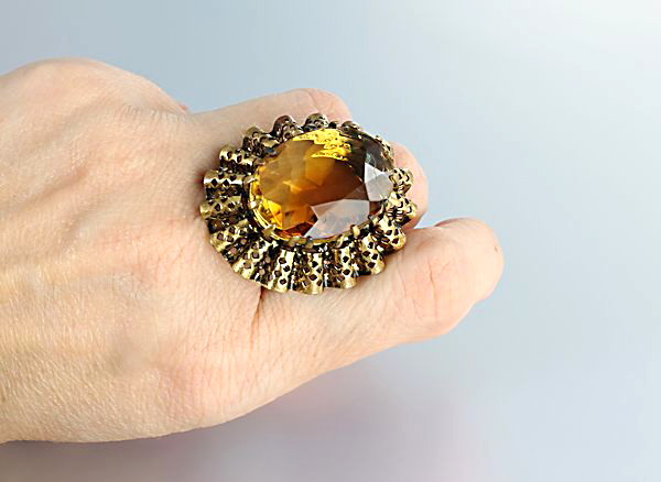 Vintage Amber glass Ring West Germany huge adjustable