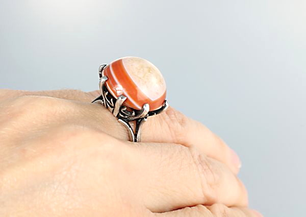 Vintage Banded agate sterling silver Ring size 7 mid century