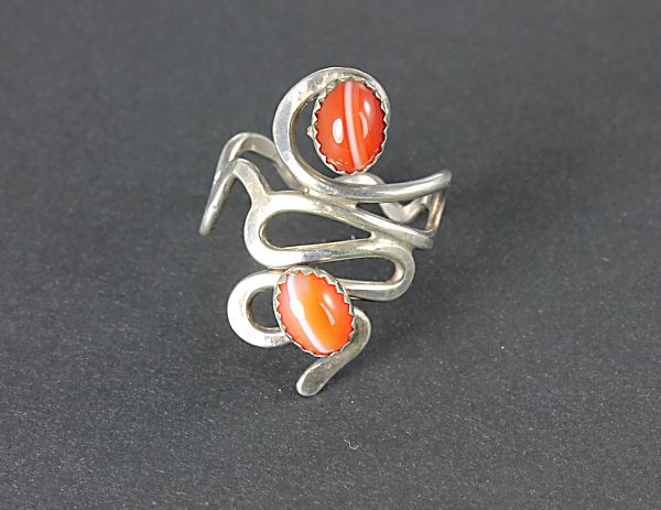 Modernist Banded Agate sterling silver Ring size 8.75