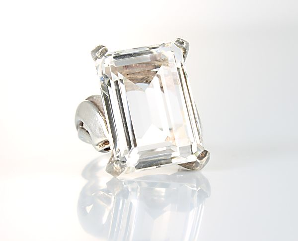 Vintage Rock Crystal Sterling silver Ring Emerald cut