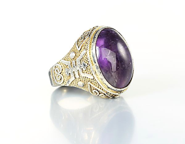 Chinese export Amethyst Ring filigree silver size 5