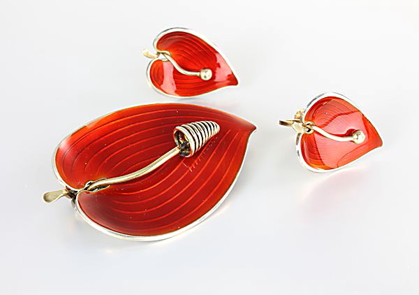 Einar Modahl Norway Sterling Enamel Brooch Earrings Anthurium