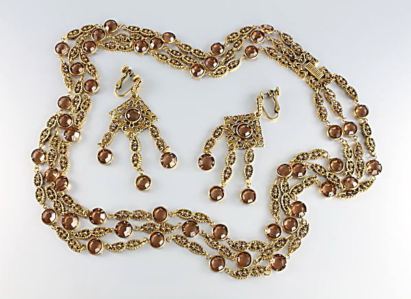 Vintage Goldette necklace earrings Topaz crystal