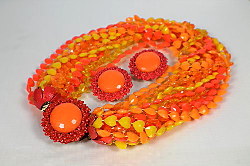 Coro Pegasus Orange Yellow torsade Necklace Earrings set