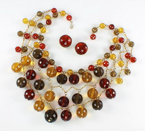 Vintage Lucite Bib Necklace Earrings set Amber Topaz