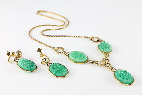 Art Deco Amco Jade glass Necklace Earrings Set