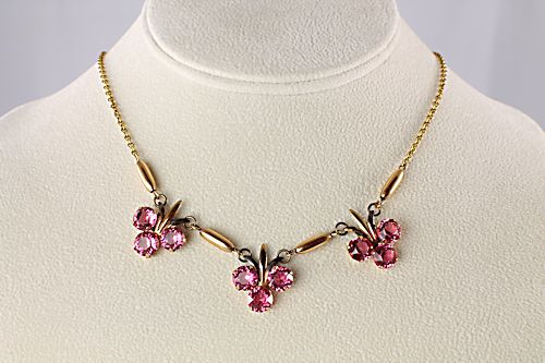 Art Deco gold filled Necklace Earrings Amco Pink rhinestone
