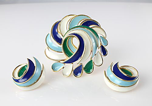 Modernist Trifari Enamel Brooch Earrings blue green