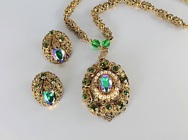 West Germany Necklace earrings Peacock Peridot Rhinestone