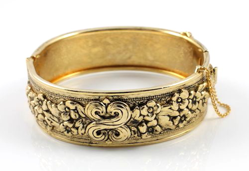 Art Nouveau Bangle bracelet Floral Vintage jewelry