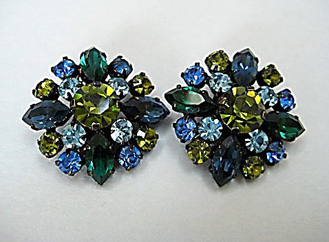 Vintage Austrian crystal Snowflake Earrings blue green