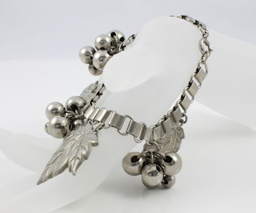 Art Deco Bookchain Charm Bracelet Leaf and Berries