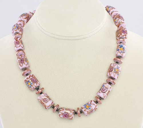 Vintage Venetian Pink wedding cake glass bead Necklace