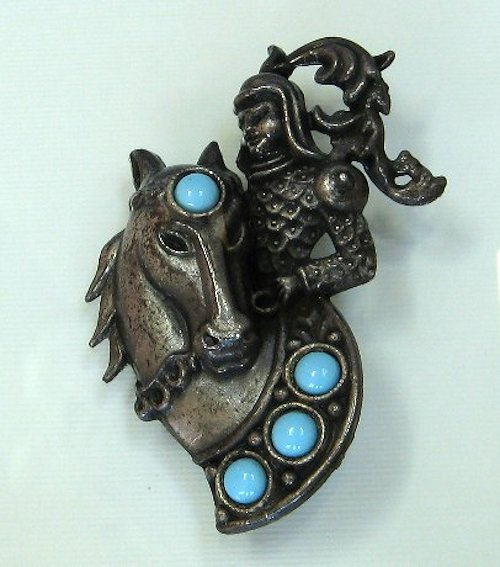 Pot metal Medieval Knight Brooch turquoise accents