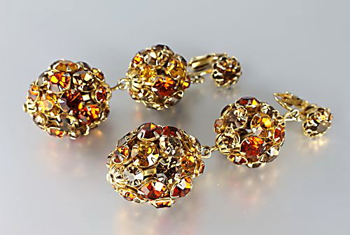 Vintage amber topaz rhinestone ball earrings truly gorgeous pair of vintage drop rhinestone earrings with a hollywood regency look they are large and quite heavy and have a length of 1 12 inches aloadofball Image collections