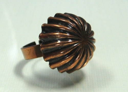 Vintage Modernist Copper Ring Mid Century domed 1950s jewelry