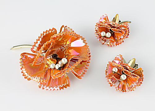 Vintage Pakula enamel Carnation flower Brooch Earrings