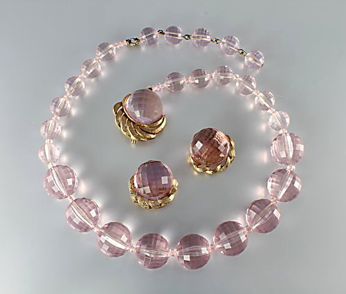 Western Germany Lavender lucite Necklace Earrings set