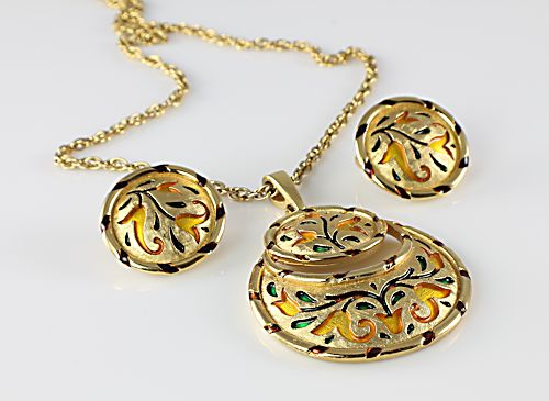 Vintage Trifari enamel Tulip Necklace Earrings set