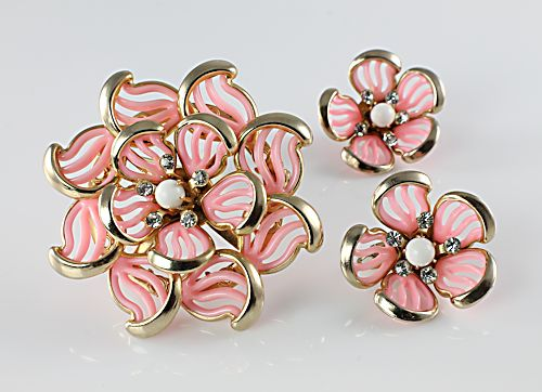 Vintage Pink celluloid rhinestone Flower Brooch Earrings