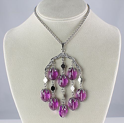 Sarah Coventry Amethyst Wisteria Necklace Earrings set