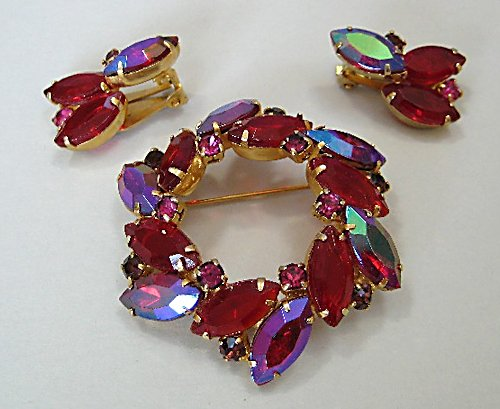 Juliana Red Rhinestone wreath Brooch Earrings