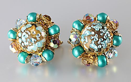 Vendome Teal Blue Crystal Earrings speckled glass and pearls