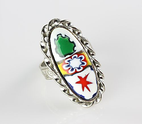 Vintage Millefiori glass Ring oval stone